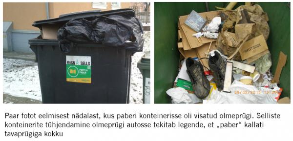 paberi konteinerid mis sisaldavad tavajäätmeid tühjendatakse olmeprügi autosse